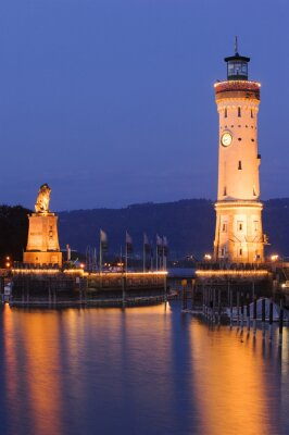 Fotomural Leuchtturm de Lindau am Bodensee bei Nacht