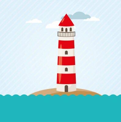 Fotomural Leuchtturm y Küste Vektor