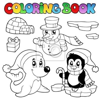 Libro para colorear animales de invierno 3 fotomural • fotomurales ...