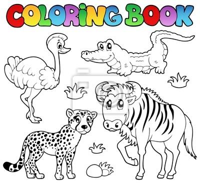 Libro para colorear animales de la sabana 2 fotomural • fotomurales ...