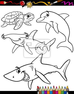 Libro para colorear animales de la vida marina de la historieta ...