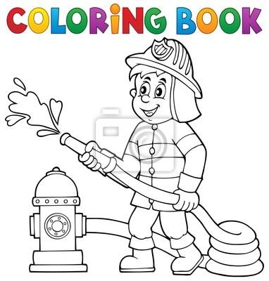 Libro para colorear bombero tema 1 fotomural • fotomurales ayudar ...