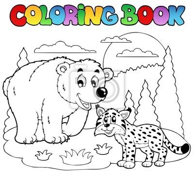 Libro para colorear con animales felices 4 fotomural • fotomurales ...