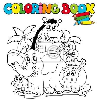 Libro para colorear con animales lindos 1 fotomural • fotomurales ...