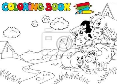 Fotomural Libro Para Colorear Con Animales Lindos 3