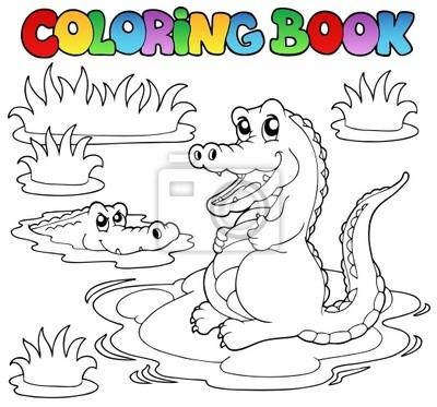 Libro para colorear con dos cocodrilos fotomural • fotomurales ...