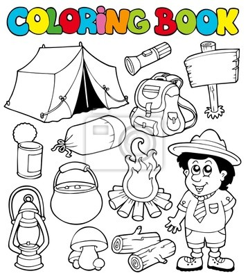 Libro para colorear con el tema de camping fotomural • fotomurales ...