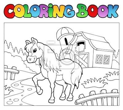 Libro para colorear con la granja y caballos fotomural • fotomurales ...