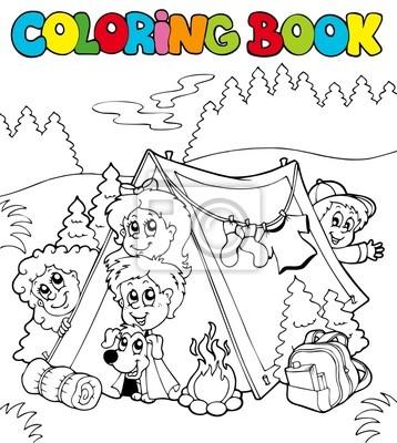 Libro para colorear con los niños de camping fotomural • fotomurales ...