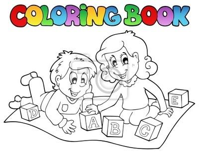 Libro para colorear con los niños y ladrillos fotomural ...