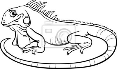 Fotomural libro para colorear dibujos animados iguana