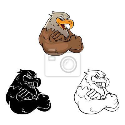 Libro para colorear la mascota águila personaje de dibujos animados ...