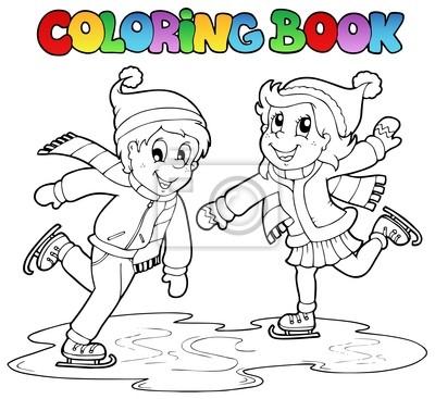 Libro para colorear niño de patinaje y una niña fotomural ...