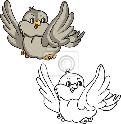 Libro para colorear. pájaro de la historieta. ilustración vectorial ...