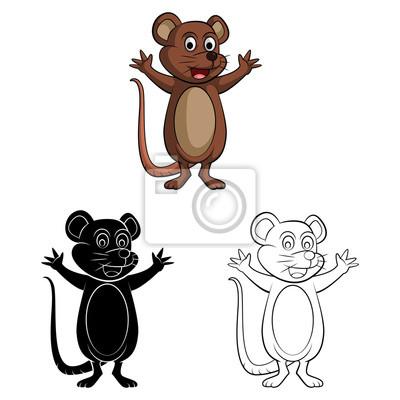 Libro para colorear rata ratón personaje de dibujos animados ...