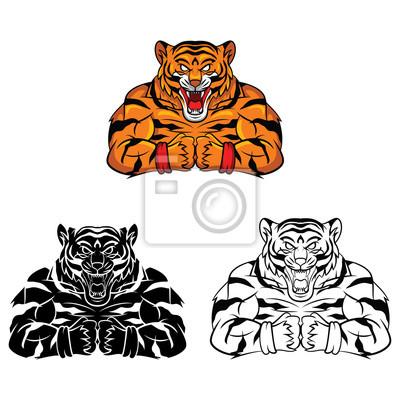 Libro para colorear tigre carácter fuerte de dibujos animados ...