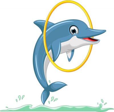 Fotomural linda de la historieta de salto del delfín