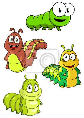 Lindas Coloridas Orugas De Dibujos Animados Personajes Fotomural
