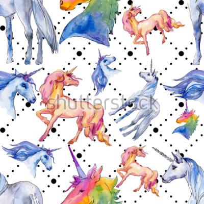 Fotomural Lindo caballo de unicornio. Los niños de cuento de hadas dulce sueño. Modelo a partir del fondo del cuerno animal del arco iris. Papel tapiz de tela con textura de impresión. Acuarela animal salvaje