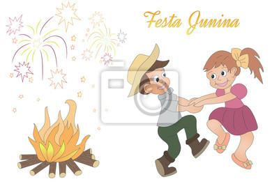 Lindo Dibujo A Mano De Los Ninos De Baile Hoguera Una Fuegos