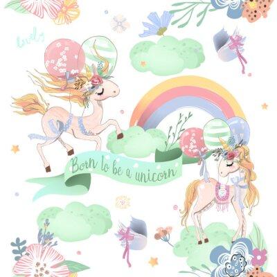 Fotomural Lindo unicornios de patrones sin fisuras. Patrón de niños con unicornios, flores, globos, nubes y arco iris