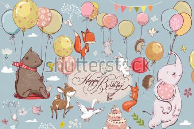 Fotomural lindos animales volando con globos
