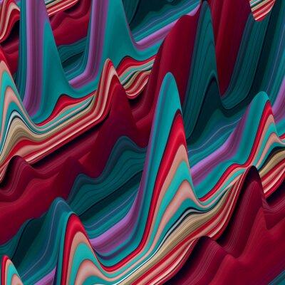 Fotomural líneas de colores ondulantes abstractos, 3d fondo