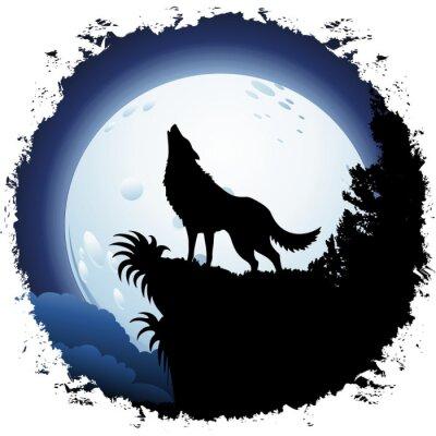 Fotomural Lobo que grita en la luna azul en el marco de Grunge