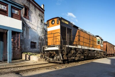 Fotomural Locomotora en la estación de Camagüey Cuba