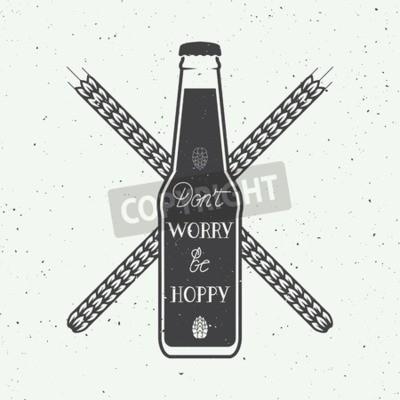 Fotomural Logotipo de la cerveza de la vendimia del vector con la cita de la motivación de la diversión