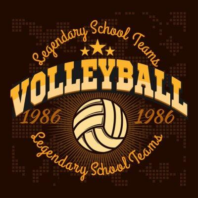 Fotomural Logotipo del campeonato de voleibol con bola - ilustración vectorial.