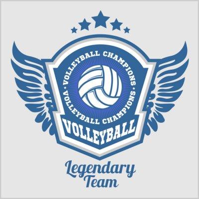 Fotomural Logotipo del campeonato de voleibol con pelota. Vector insignia de deporte para el torneo o el campeonato