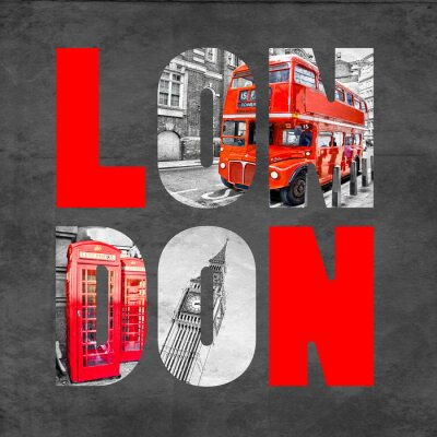 Fotomural London letters with images on  black background