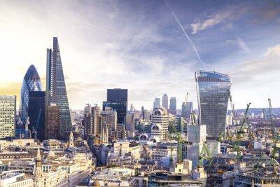 Fotomural Londres atardecer, ver el moderno distrito de negocios