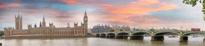 Fotomural Londres en la oscuridad. La puesta del sol del otoño sobre el puente de Westminster