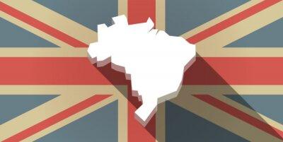 Fotomural Long sombra Reino Unido icono de la bandera con un mapa de Brasil