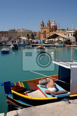 Fotomural Los barcos de pesca de Malta en Marsaxlokk