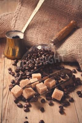 Fotomural Los ingredientes y utensilios para hacer café