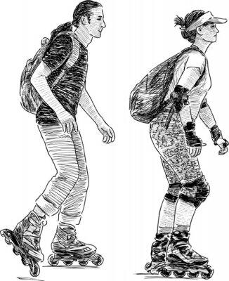 Fotomural los jóvenes de patinaje