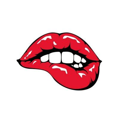 Fotomural Los labios rojos que pican icono en el fondo blanco.