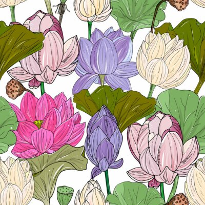 Fotomural Lotus or water lilies seamless pattern. Elegant tropical floral background. For packaging, print, fabric, wallpaper, invitations.