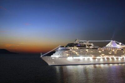 Fotomural Lujo crucero navegando a puerto en la salida del sol
