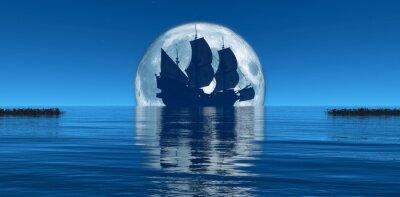 Fotomural luna y velero
