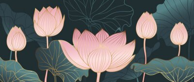 Fotomural Luxurious background design with golden lotus. Lotus flowers line arts design for wallpaper, natural wall arts, banner, prints, invitation and packaging design. vector illustration.