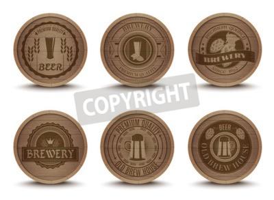 Fotomural Madera, cerveza, casa, emblemas, retro, estilo, bebida, goteo, esteras, coasters, iconos, colección, impresión, Extracto, aislado, vector, Ilustración