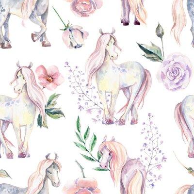 Fotomural Magic Pony sin patrón. Ilustración acuarela, hermosa
