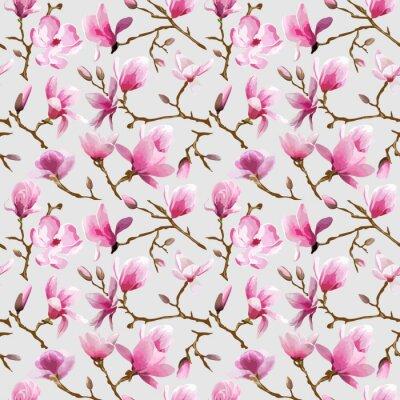 Fotomural Magnolia Flores Fondo - Vintage Pattern