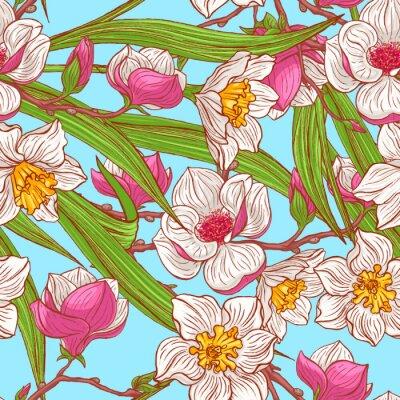 Fotomural magnolias de color y narcisos