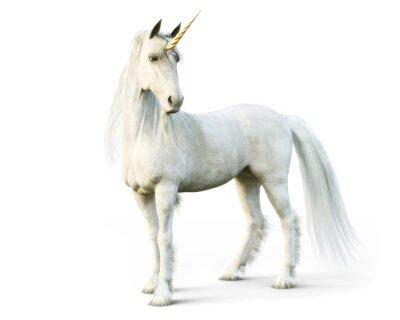 Fotomural Majestuoso unicornio posando sobre un fondo blanco aislado. Representación 3D