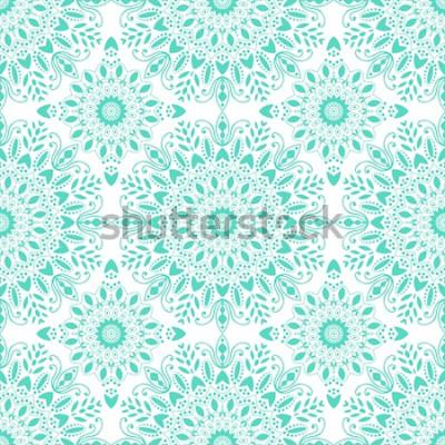 Fotomural Mandala sin patrón. Estilo bohemio Fondo vintage con adorno redondo, medallón indio decorativo, elemento abstracto de la flor. Diseño vectorial